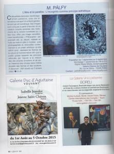 Artikel in der französischen Zeitschrift UNIVERS des ARTS N°180 Sommerausgabe Jul-Aug-Sept 2015